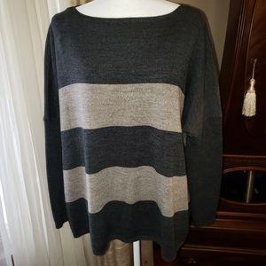 Apostrophe Gray & Tan Poncho Style Sweater, sz L
